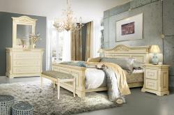 Mária krémfehér ágy 160x200, ágyrács nélkül