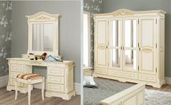 Mária fehér ruhásszekrény/ fésülködőasztal